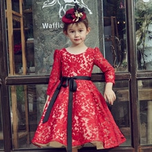 Robe de princesse pour enfants   Luxueuse robe de bal rouge, manches longues, avec ceinture, motif Floral brodé, robes de fête fantaisie A80