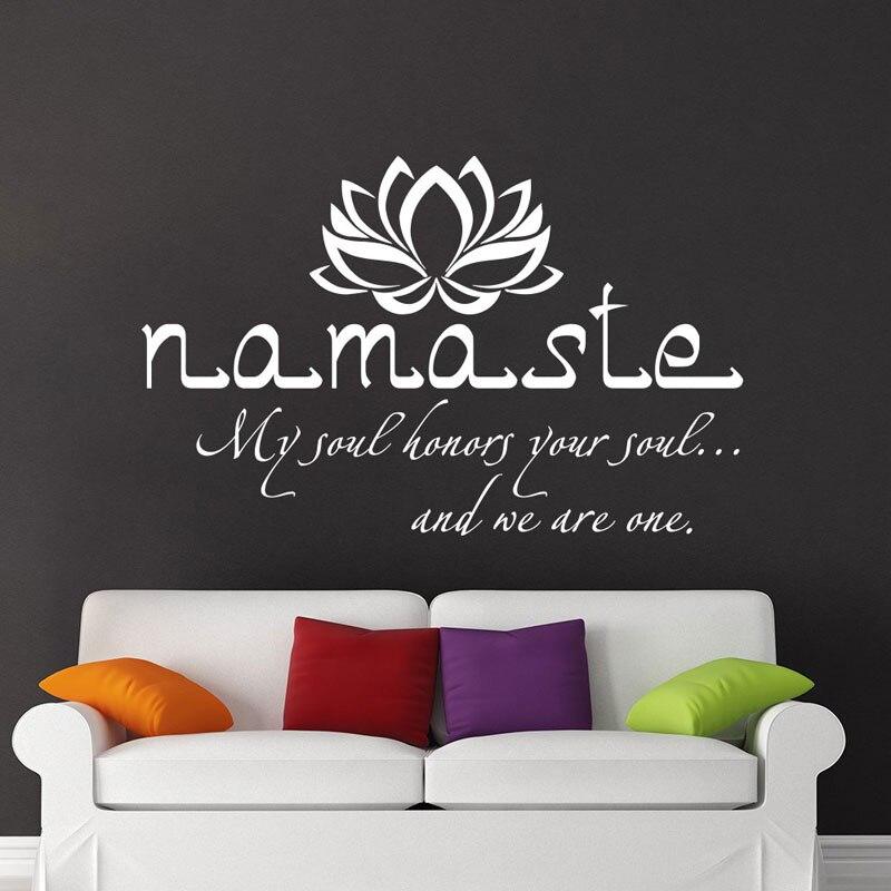 Виниловые наклейки на стену Namaste, виниловые наклейки с цитатами, декор Будды, декор в виде цветка лотоса, Настенный декор для спальни, студии йоги, виниловые наклейки B714