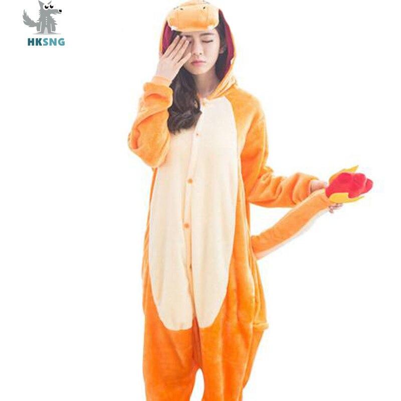 HKSNG Animal adulto Charmander dragón Onesie Kigurumi pijamas de franela de dibujos animados traje monos Pijamas