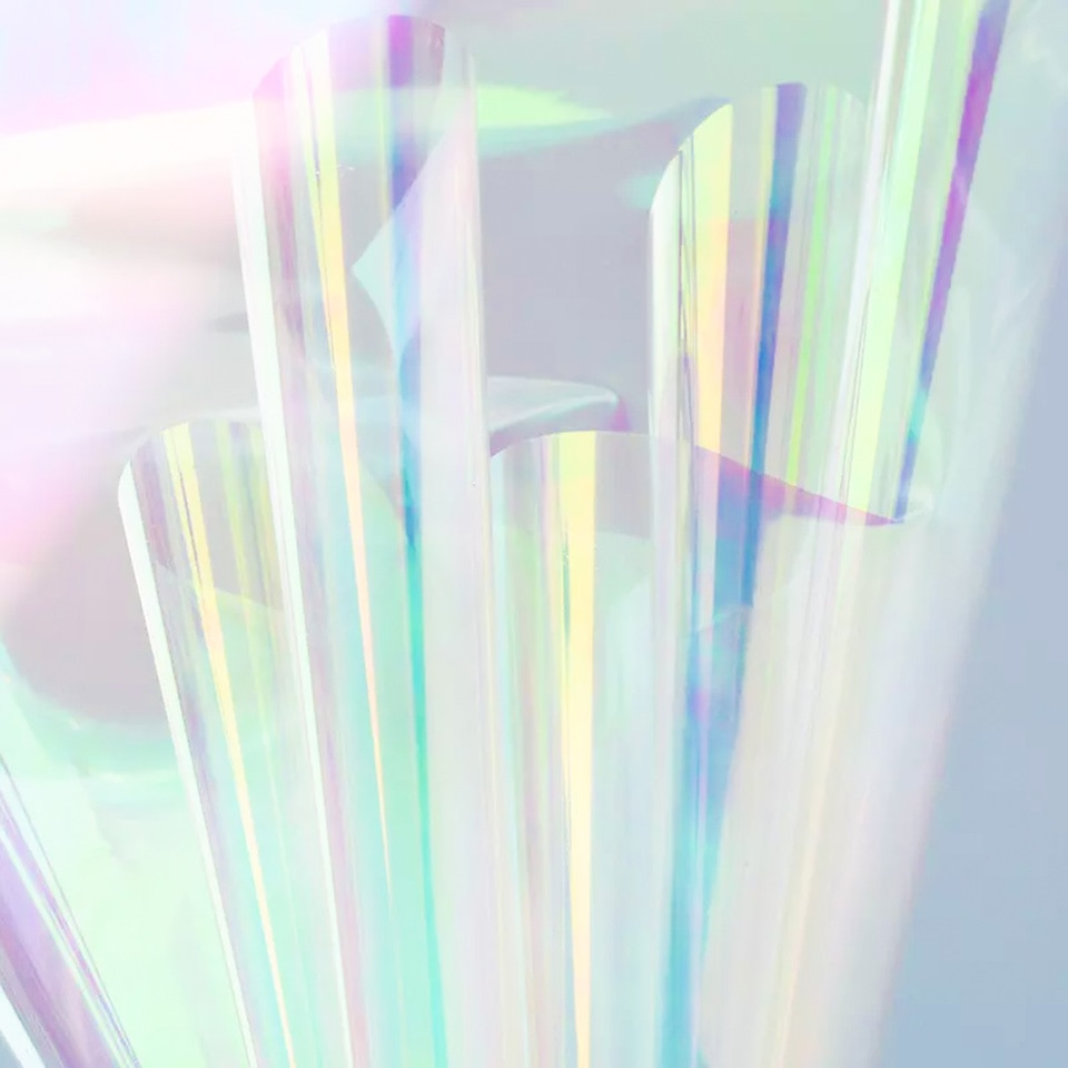 Nicrolandee 20 pulgadas x 10 yardas envoltura de flores iridiscente celofán Arco Iris película Navidad cumpleaños material para decoración de boda