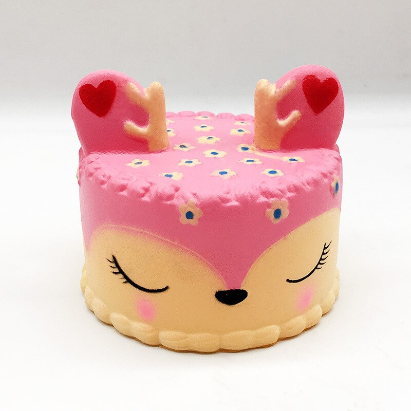 Pink Kawaii Cute Deer Sweet Cake Squishy Slow Rising Jumbo 11CM Cartoon Soft Squeeze Bread Ice Cream Phone Straps Charms Kid Toy
