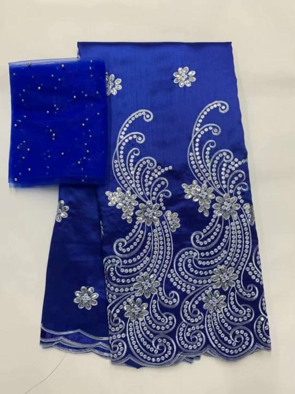 2019 George Africano Tecido de Renda Com Blusa azul Indiano de Seda Vestido De Renda Tecido de Renda Líquida Francês Para O Casamento Nigéria