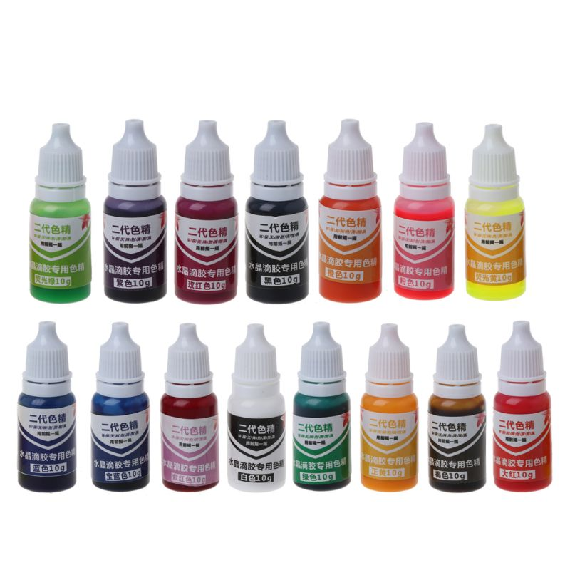 15 Colors 10ml Color Epoxy UV Resin Coloring Dye Colorant Jewelry Liquid Pigment Bath Bomb Soap DIY Handmade Crafts Art Sets