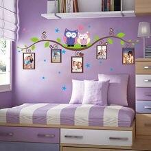 아이 방에 대 한 나무 벽 스티커에 올빼미 장식 adesivo 드 parede pvc 벽 데 칼 새로운 올빼미 녹색 분기 사진 프레임 스티커