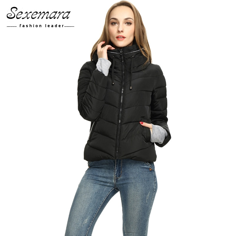 Chaqueta de invierno con cremallera para niña, Parka gruesa para mujer, abrigo Anorak Parka larga de mujeres, abrigos cortos de diseño delgado, acolchado de algodón de talla grande