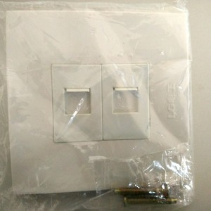 Home Office White Square Panel RJ11 Phone Jack RJ45 Network Internet 2 Port Wall Face Plate Cover AC 250V without Module