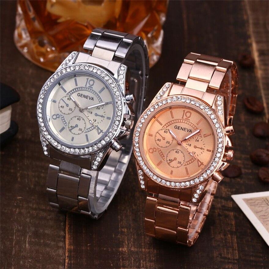 Relojes marca Geneva de lujo para mujer, moda 2018, reloj informal para parejas, relojes de cuarzo de acero inoxidable para damas, reloj femenino