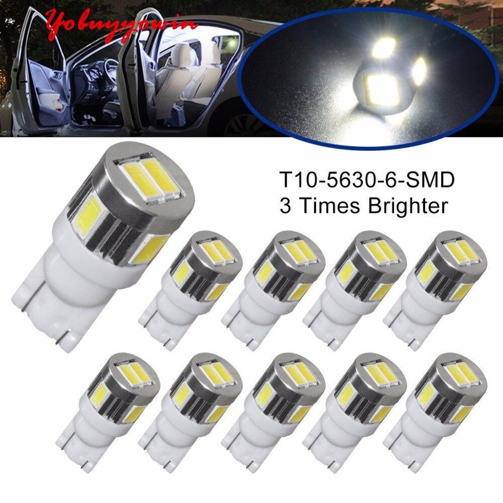 10 piezas Lampadas Pingo T10 W5w 6 Led Smd 5630 Samsung Chips...