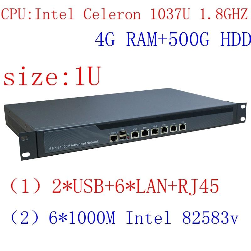 Kvm virtual 1U firewall server with Celeron 1037U low-power CPU support ROS Mikrotik PFSense Panabit Wayos 4G RAM 500GB HDD