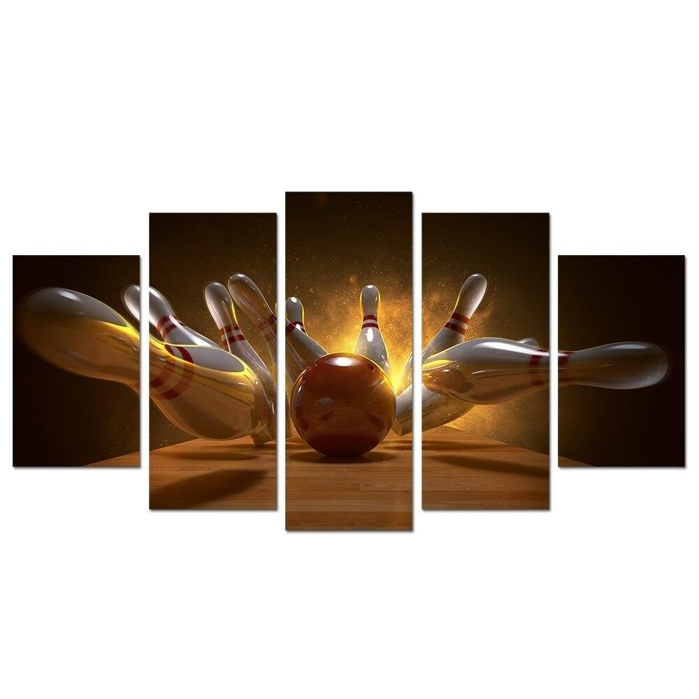 لوحة قماشية مطبوعة للديكور المنزلي ، 5 لوحات ، 5 ألواح ، كرة البولينج ، عرض ثلاثي الأبعاد ، عمل فني جداري ، ملصقات صور معيارية