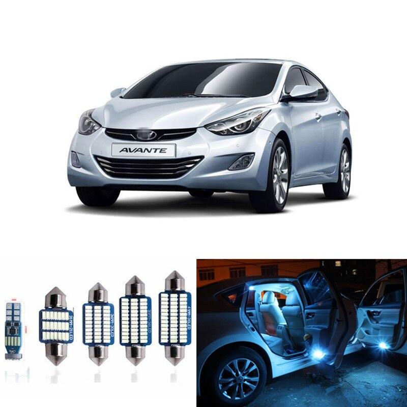Kit de bombillas de luz led para coche de 9 uds, kit de paquete de interiores para Hyundai Elantra 2011-2015, domo de mapa para maletero o matrícula, lámpara blanca, azul hielo