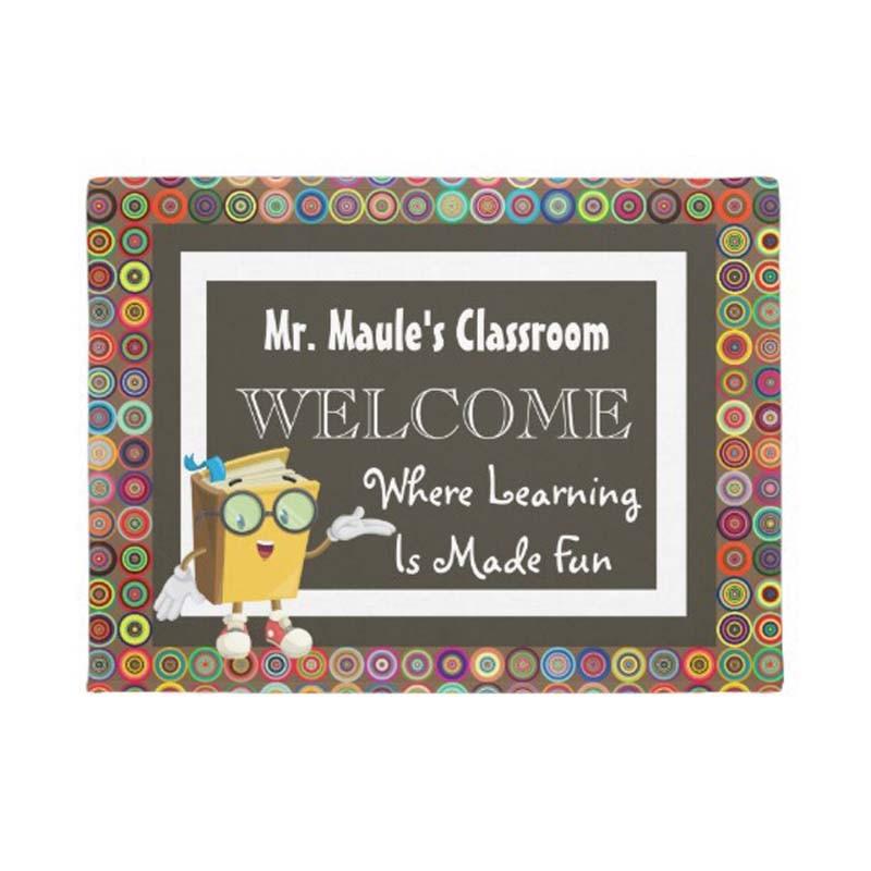 Personalizado los maestros divertido círculos Bienvenido Felpudo casa decoración entrada antideslizante estera de puerta de goma lavable piso casa
