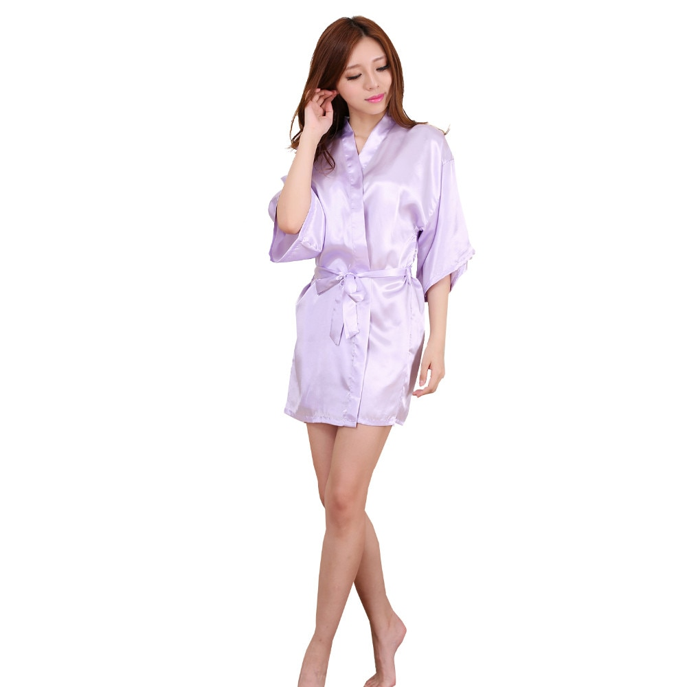 2016 nuevos vestidos de dama de honor de satén púrpura claro, seda falsa blanca, boda, vestido de novia para Hermanas, albornoz de kimono