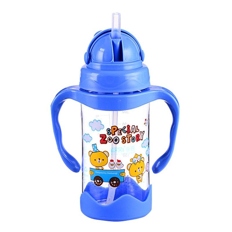 Taza de bebé Linda niños aprender a alimentar agua potable paja Bott mango botella Mamadeira Sippy taza de entrenamiento 12 OZ