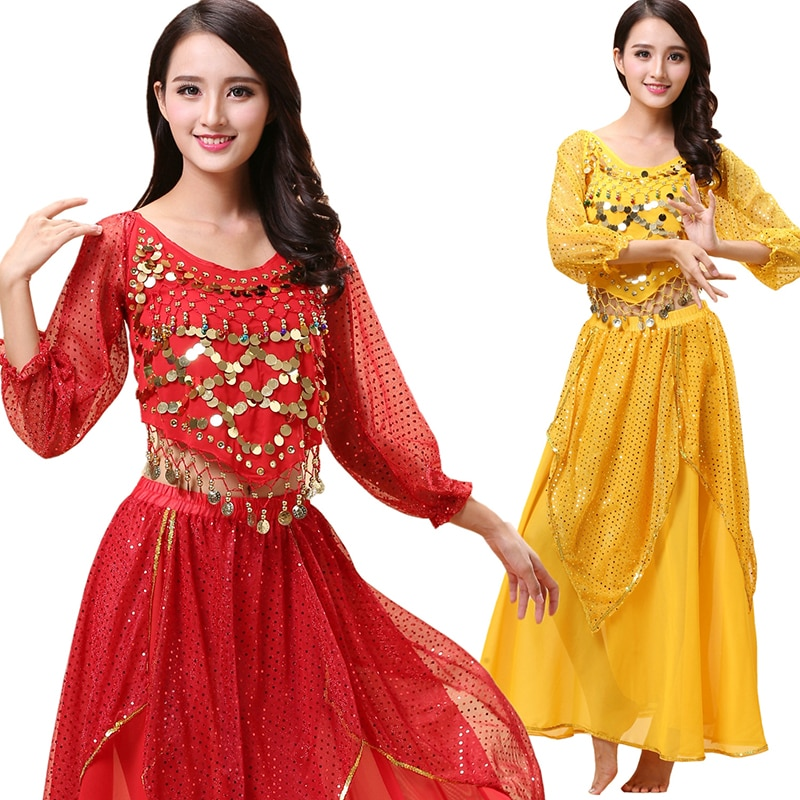 2pieces Suit Belly Dance Costumes Oriental Bollywood Costume Set Top Shirt + Skirt