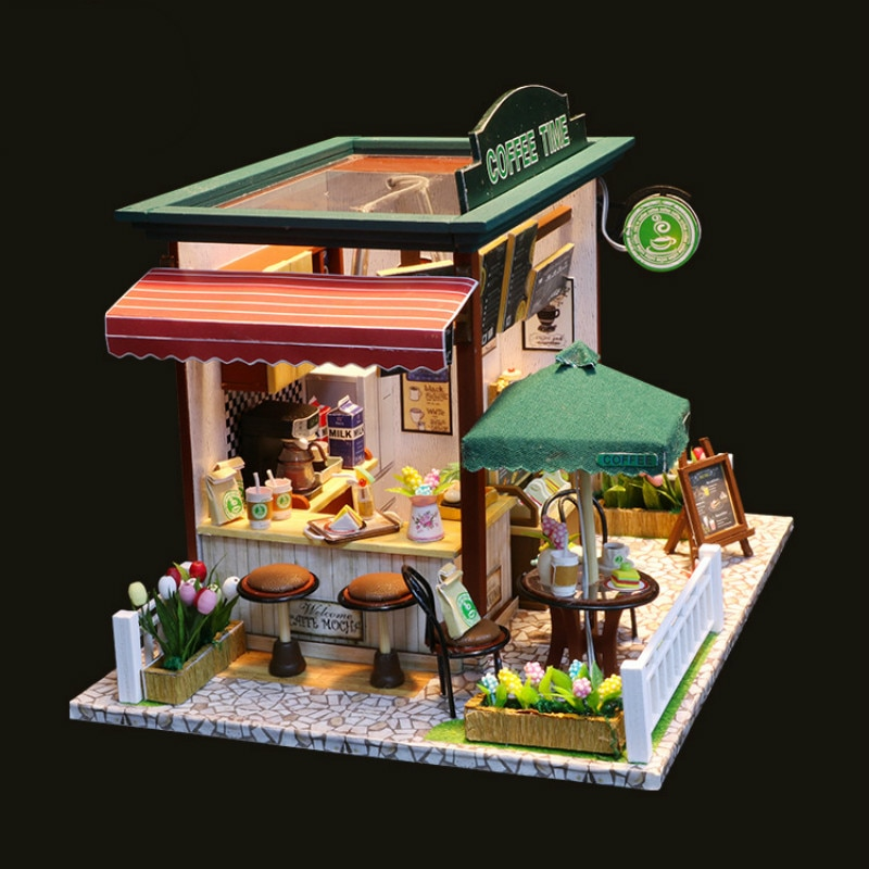 Diy Coffee House Time  Hand-assembled Villa Model Building Birthday Creative Girl