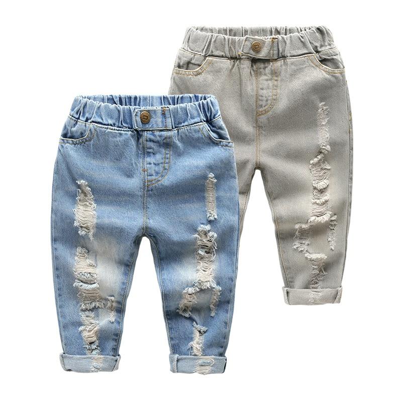 Джинсы с дырками для мальчиков и девочек, Хлопковые Штаны отличного качества, Повседневные Удобные для малышей, детская одежда Джинсы    АлиЭкспресс