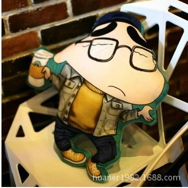 Cojín de Shin de crayón de dibujos animados con impresión estéreo 3D, cojín de coche de juguete de felpa, sofá enviar amigos regalos