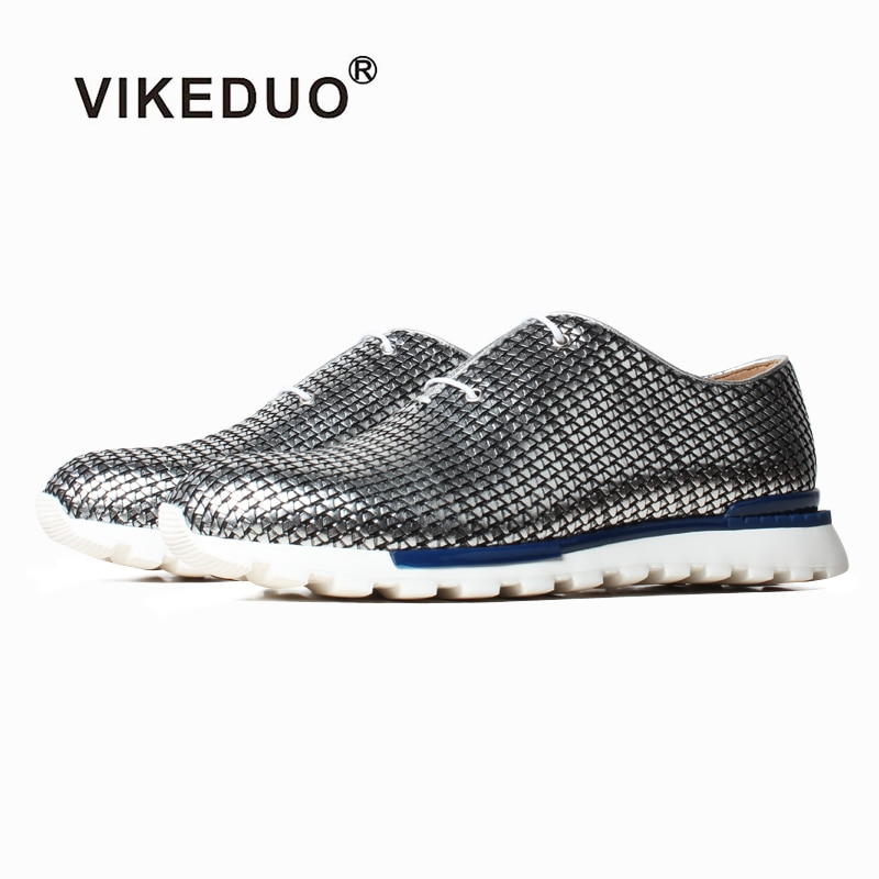 VIKEDUO-أحذية رياضية فضية للرجال ، أحذية صيفية غير رسمية ، جلد أصلي منسوج ، ماركة فاخرة ، Zapato de Hombre