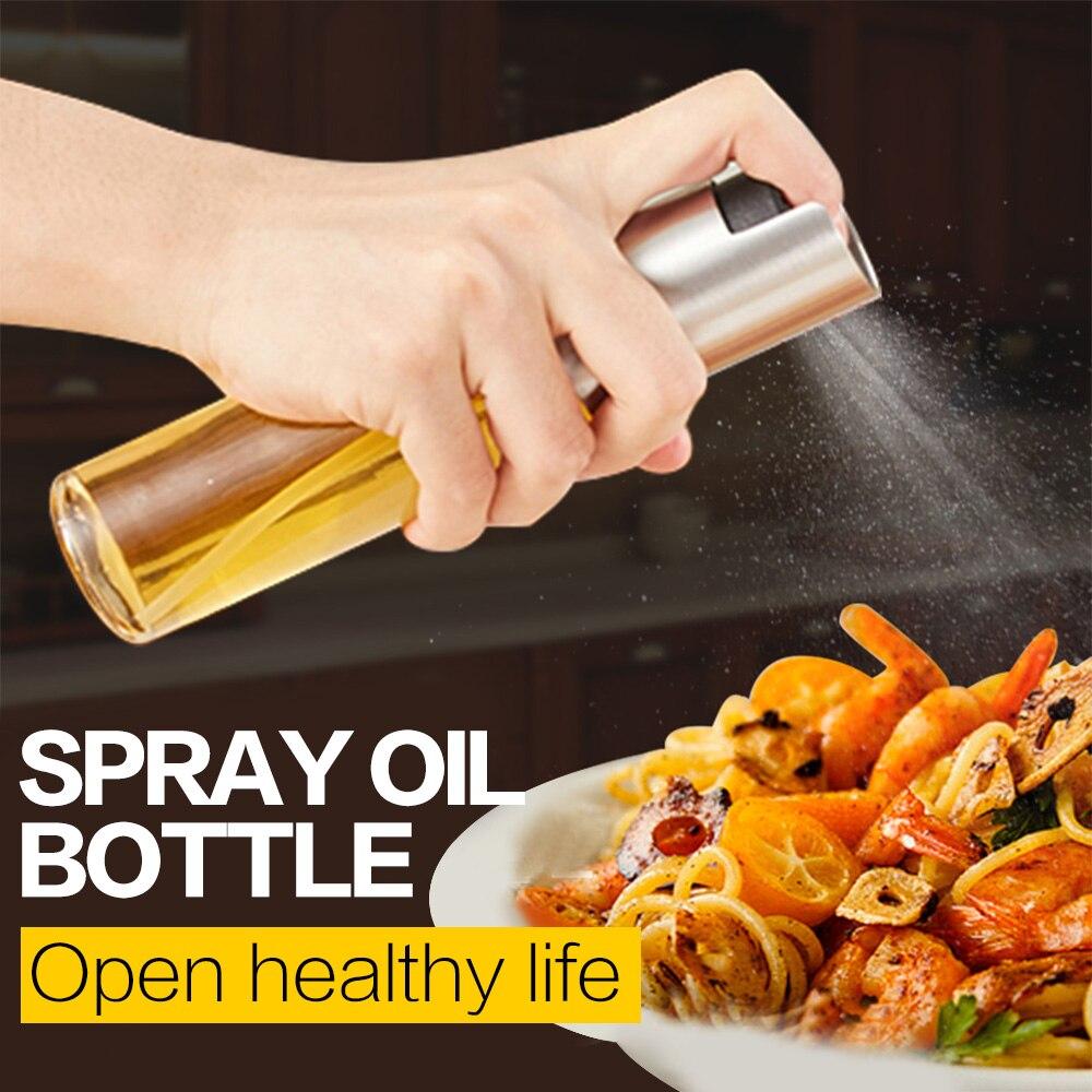 Стеклянный распылитель оливкового масла, распылитель масла, пустая бутылка, бутылка для уксуса, диспенсер для масла для приготовления сала...