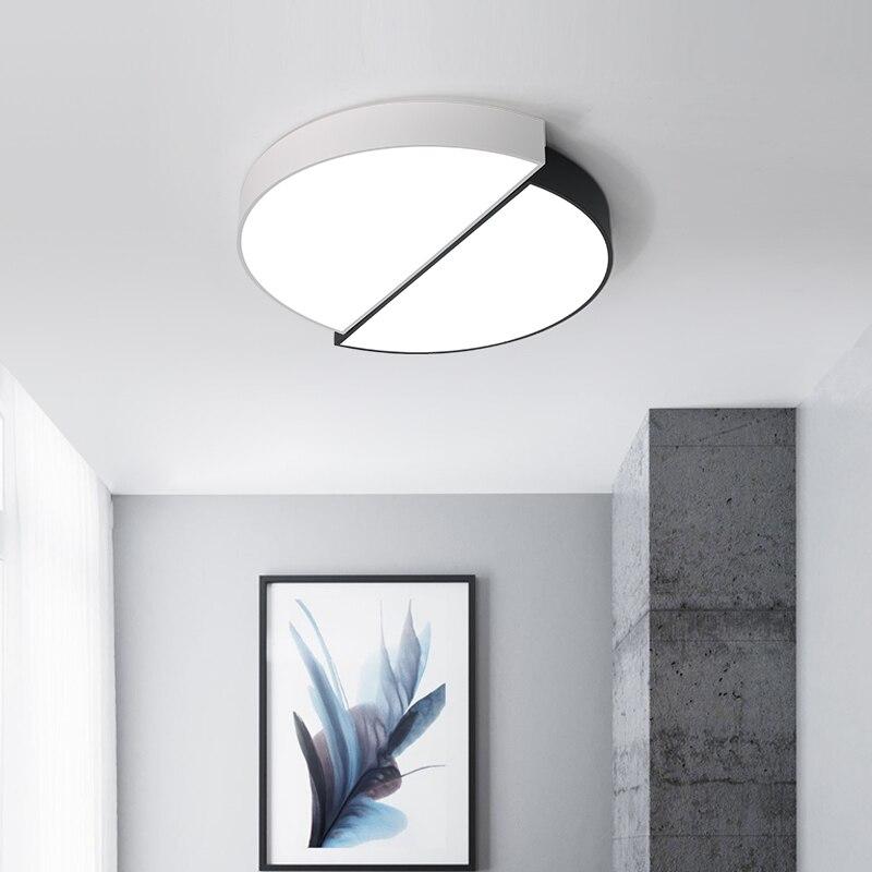 Creativo blanco negro LED Luz de techo para sala de estar dormitorio Plafon hogar iluminación lámpara de techo hogar iluminación accesorios de luz