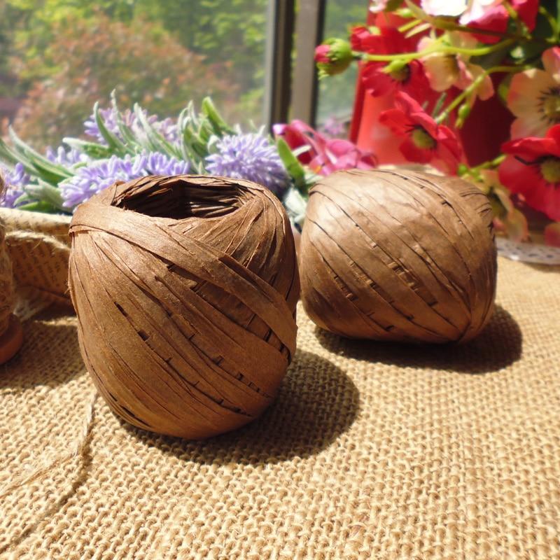 Café cor ráfia fita cabo/preto ráfia corda para presente envoltório & festa decorações (20 m/rolo, 11 rolos/lote) frete grátis