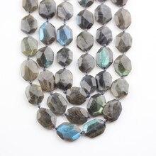 Cuentas de piedra labradorita Flash Natural pulida, con facetas y perforado, cuentas de losa Octangle, colgante para collar, artesanía, alrededor de 15 a 18 Uds