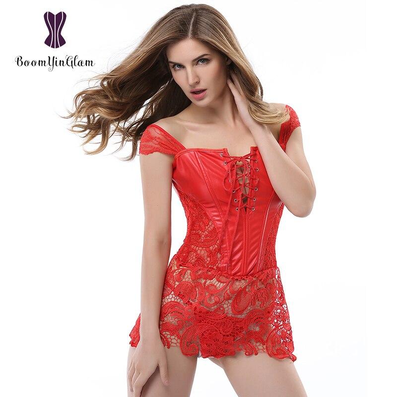 Plus Size Back Zip Up Women's Sexy Faux Leather Steampunk Boned Bustier Black Lace Dress Corset Clubwear 903#