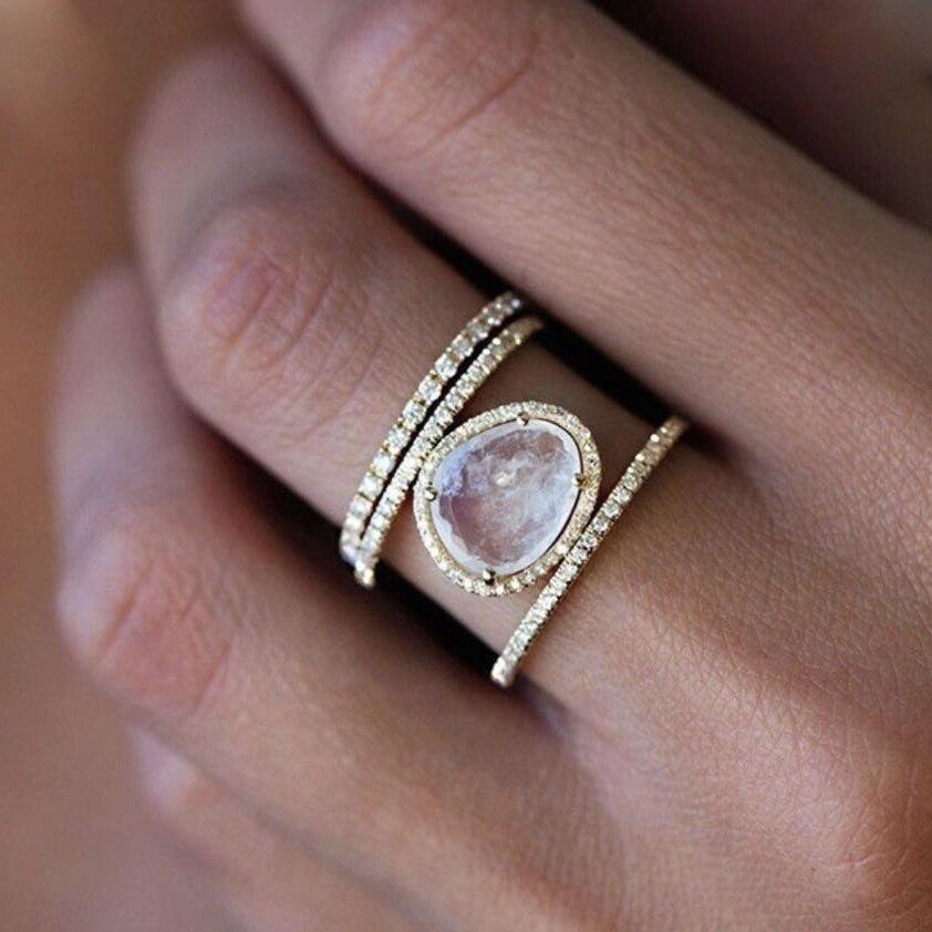 Ouro cheio micro pave branco cz grande gema eua tamanho 5 6 7 8 feminino dedo cheio anel de noivado moda