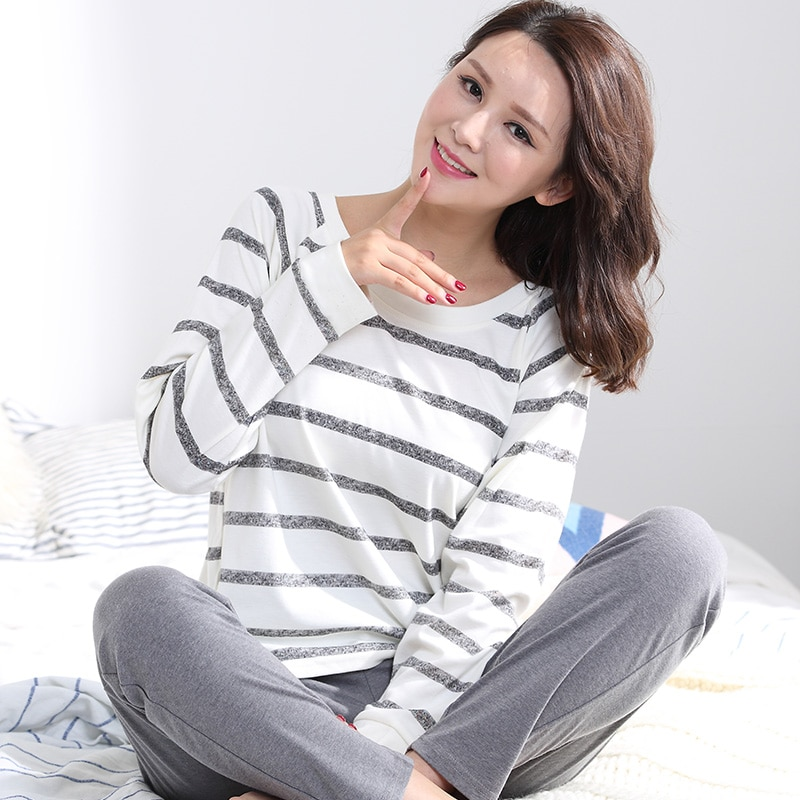 Женский пижамный комплект в полоску, 100% хлопок, Модный женский Пижамный костюм с длинными рукавами, комплект из 2 предметов, сексуальный весенний домашний костюм для отдыха, подарок