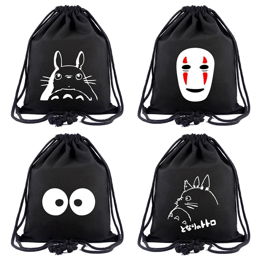 Anime spirited afastado totoro sem rosto homem mulheres bagpack adolescentes mochilas de lona saco de escola cordão