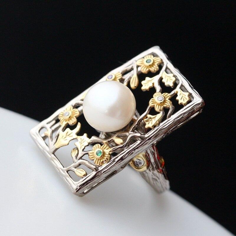 خاتم فضي تايلاندي مرصع باللؤلؤ الطبيعي من الفضة الإسترليني عيار 925 خاتم نسائي بفتحة وجه واسعة