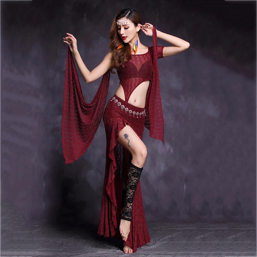Trajes de ropa de danza del vientre baratos para señoras negro 2 piezas Modal (Tops y faldas) mujeres tradicionales verano Fantasia Tutus Sets Q11039