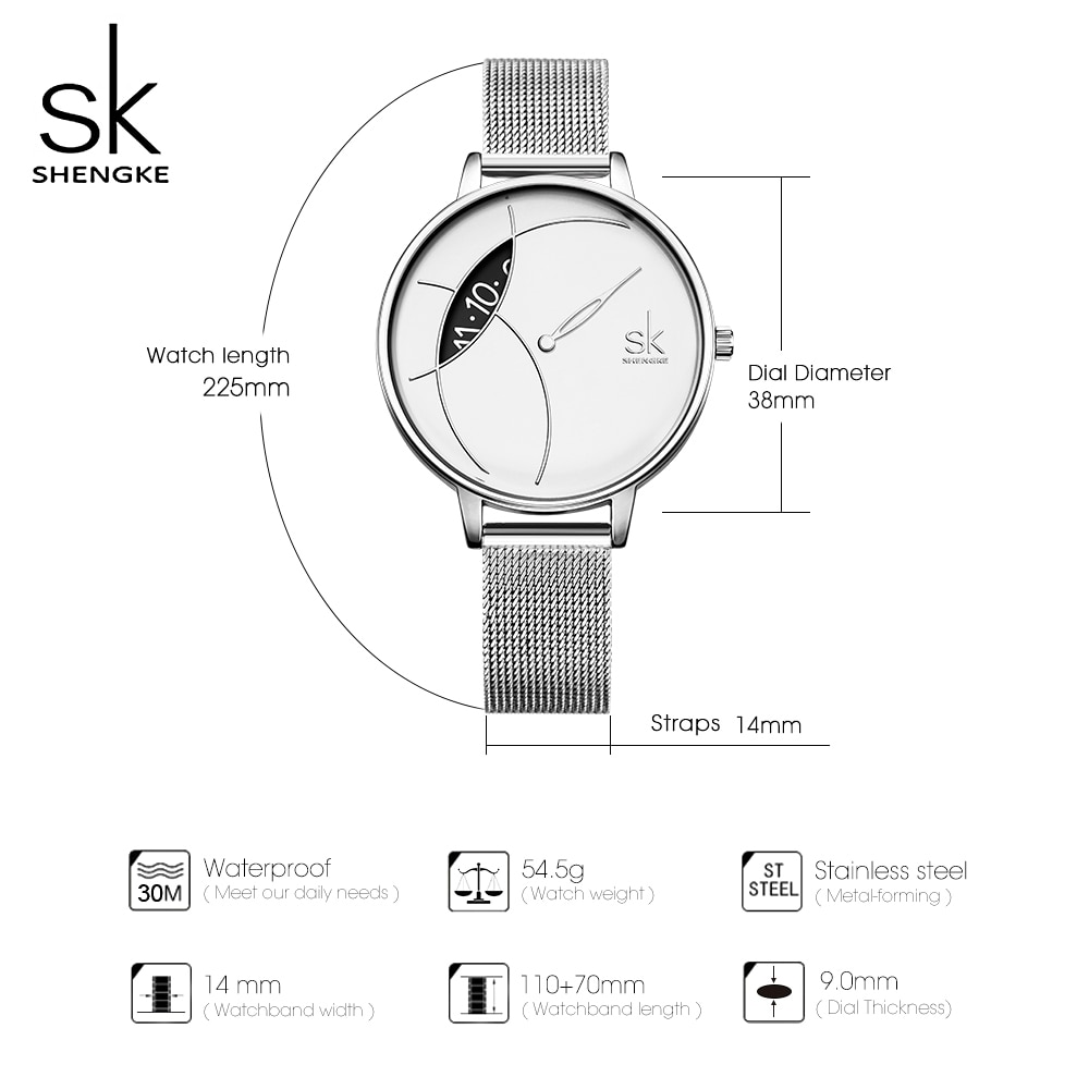 SK Sliver Super Slim Mesh Stainless Steel Watches Women Shengke Top Brand Luxury Casual Clock Ladies WristWatch Relogio Feminino enlarge