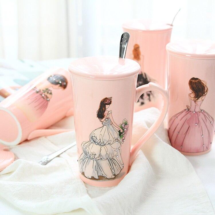 3d rosa belas meninas em diamante vestido de casamento caneca de café com tampa colher água chá leite copo presente criativo