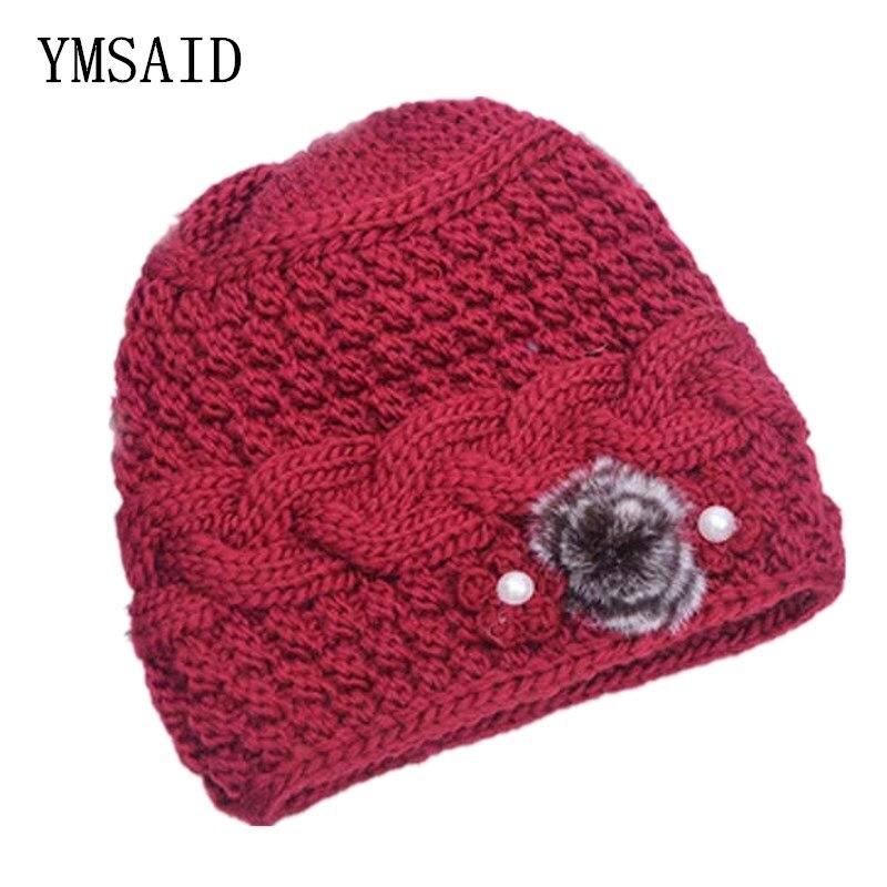 Ymsaid 2018 зимние Новые Классические меховые шапки с толстыми полями, женские вязаные шапки, осенние женские шапки, вязаные шапки Beanie