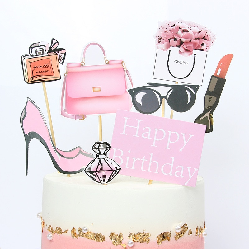Novo ins salto alto senhora menina bolo topper weddding decorações bolo feliz aniversário cupcake topper festa suprimentos rosa menina série