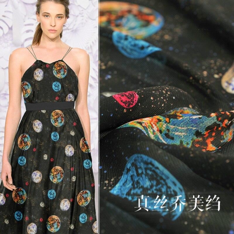 Planeta universo impressão crepe tecido, 13mm 137cm largura seda tecido de seda natural pano para a primavera das mulheres e verão novo