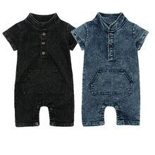 Été nouveau bébé garçons mignon Denim boutons barboteuse nourrissons enfant en bas âge une pièce combinaison tenues vêtements