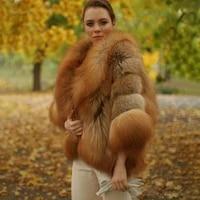 2021 womens real red fox fur coat winter luxury wholeskin thick fox fur jackets bat sleeved poncho female natural fur coats