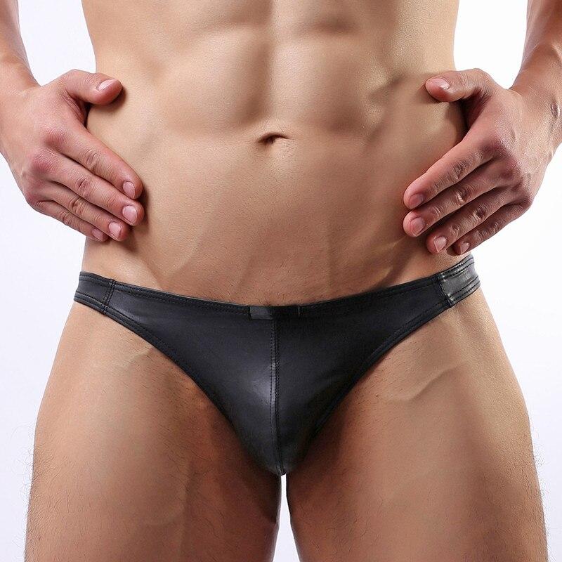 Sexy simili cuir string string Cool sous-vêtements masculins homme Jockstrap noir Gay hommes slips Bikini exotique t-back