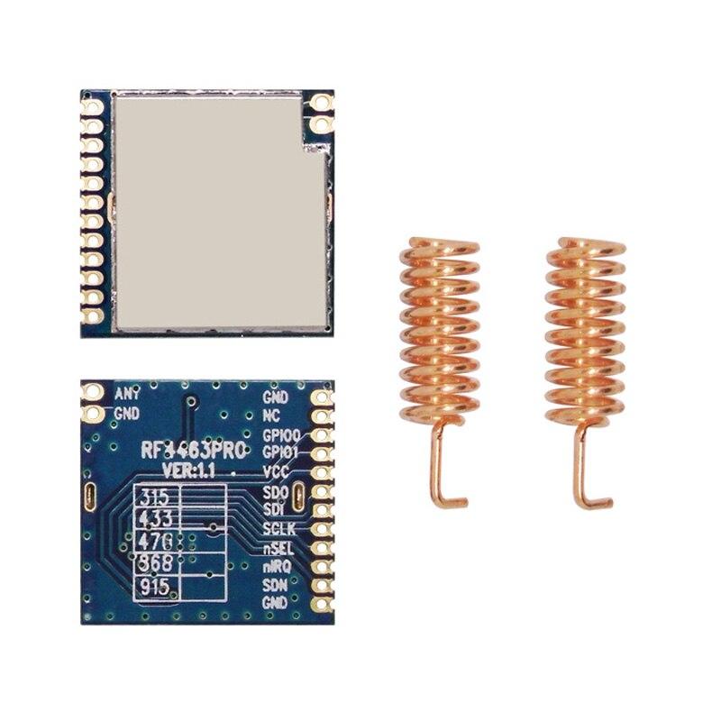 2 stücke RF4463PRO + Antenne Si4463 20dBm 100 mW RF Sender und Empfänger Frequenz Hopping Modul 868 mhz