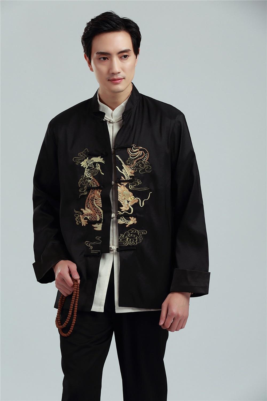 Shanghai Story manga larga ropa tradicional china colorido Bordado de dragón chaqueta china para hombre