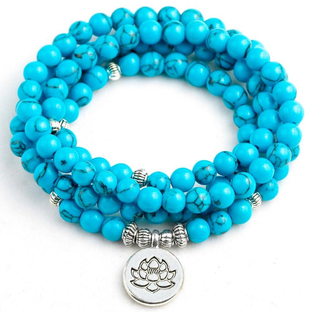 108 Mala Lotus Buddha Tree Charm Women Blue Howlite Jewelry Prayer 6MM Beads Healing Stone Bracelet Men Lucky Gift