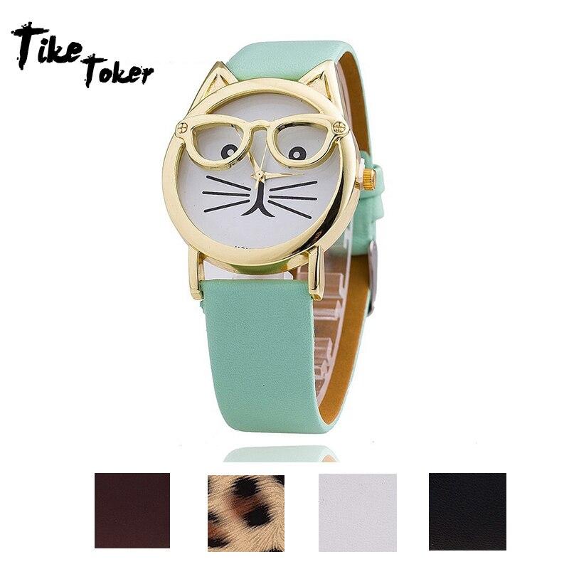 TIke Toker,Watch Women Luxury Brand Date With Leather Printing Cat Face Fashion Ladies Watch Relogio Feminino Elegant Wrist Gift