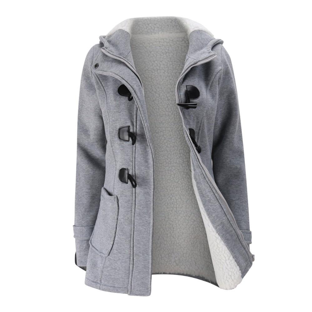 Jacket Coat Winter Women 2020 Hooded Wool Blend Praka Classic Horn Leather Buckle Coat Slim For Ladies Winter Jacket Woman Parka
