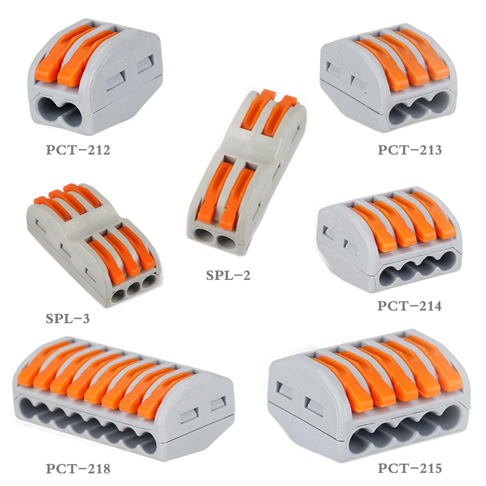 5/10/20pcs Easy Connector Quick Universal Compact Wire 2pin 3pin 4pin 5pin 8pin Fast PCT Conductor Terminal Block