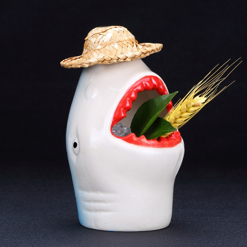 Tiburón cóctel tazón Taza de cerámica personalidad Hawaii TIKI base licor taza