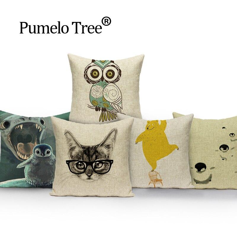Coussin décoratif pour chat   Pour Animal, chouette, livraison directe, housse de coussin, coussins de dessin animé mignons, housse doreiller personnalisée, décoration de la maison