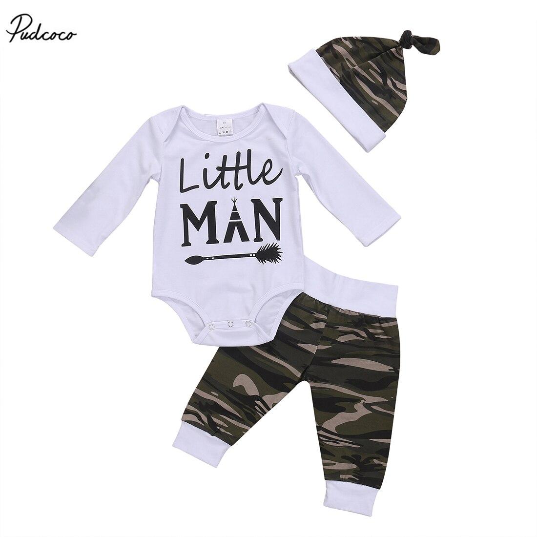 Litter hombre recién nacido niños 2018 nuevo algodón manga larga Tops Romper camuflaje pantalones sombrero 3 uds conjuntos ropa
